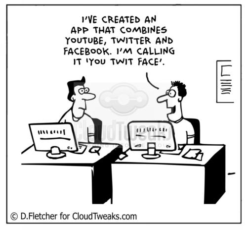 Facebook, Twitter, Youtube comic